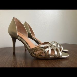 Badgley Mischka Gold Strappy Heels